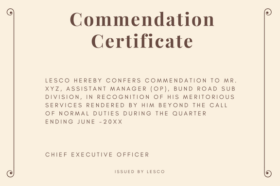 commendation certificate sample