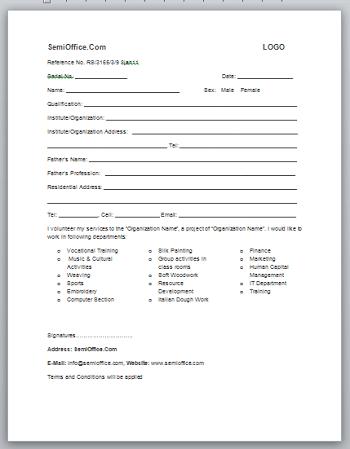 Internship Application Form Format in Word