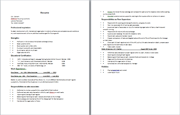 resume for o