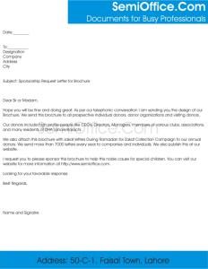 Sponsorship Request Letter for Magazine or Brochure