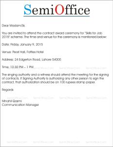 Invitation Letter for Award Ceremony