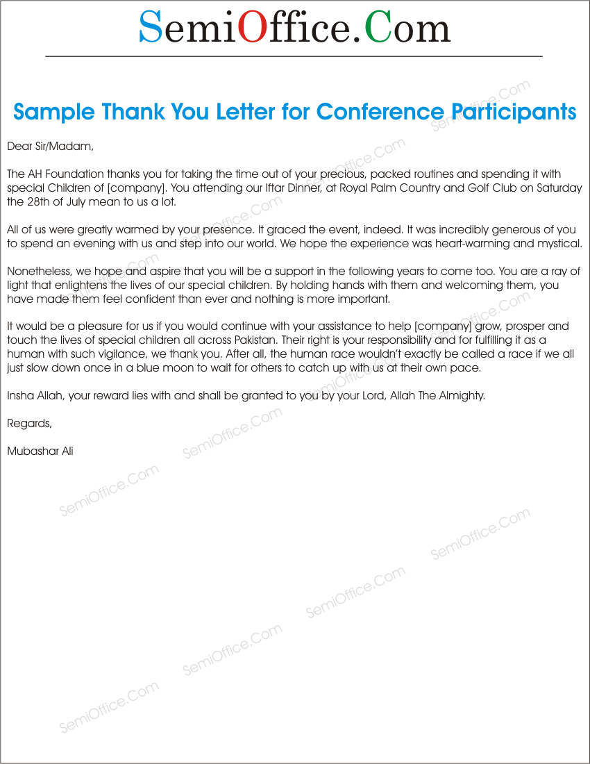 Thank you letter sample for participants altavistaventures Image collections