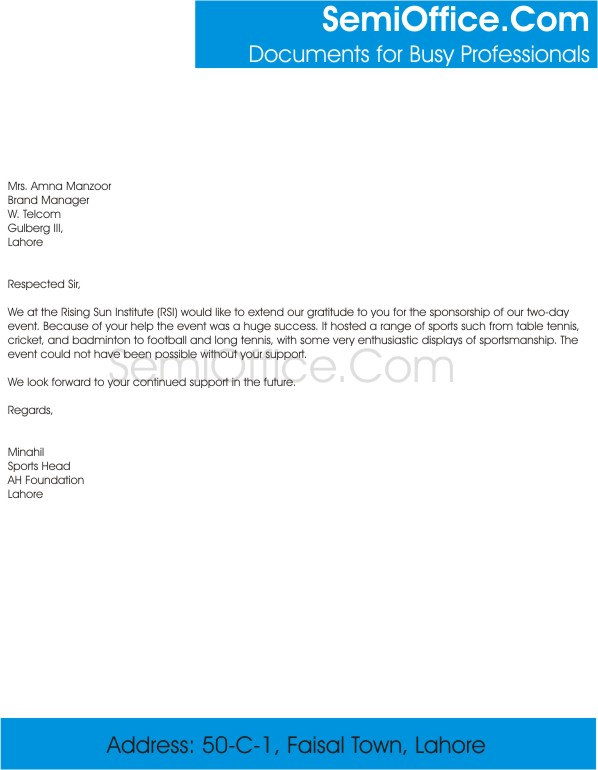 Thank You Letter for Sponsorship of Event
