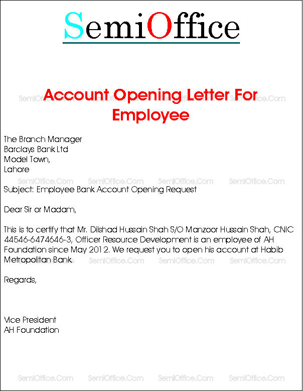 Sample Thank You Letter For Opening Bank Account