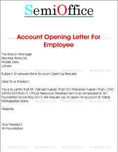 Account Opening Letter For Company Employee