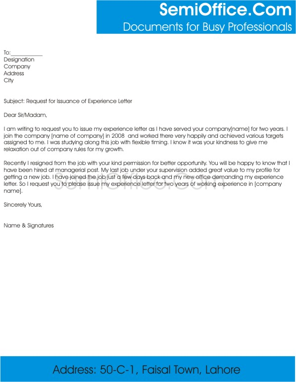 Request for Issuance of Experience Letter