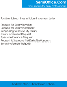 What is the Subject in Salary Increment Letter