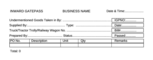 Gate pass format in excel for companies and businesses