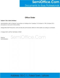Office Order For Leave Free Download