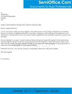 Data Collection Request Letter from University for research work