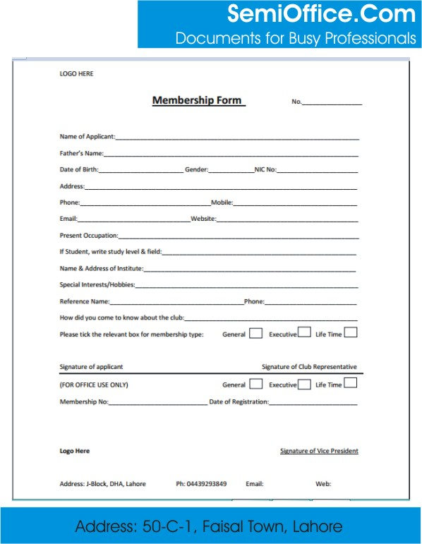 Membership Form Template Word, and Excel