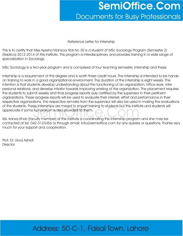 reference letter for internship from professor