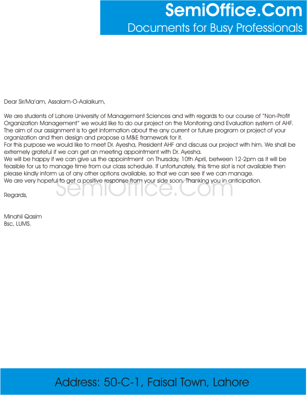 seeking appointment letter sample for meeting