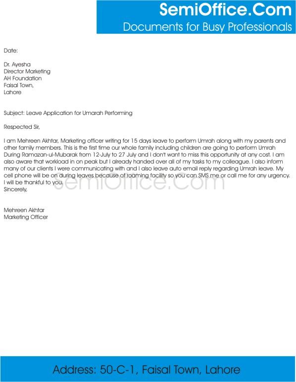 Leave application for umrah altavistaventures Gallery