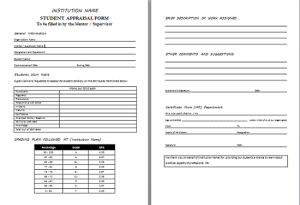 Student Appraisal Form Sample in Word
