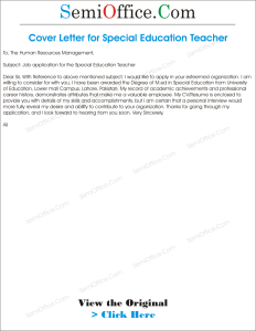 Job Application for Special Education Teacher