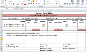 Comparative Statement Format in Excel
