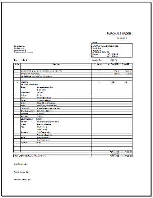 Purchase Order Format in Excel for Companies