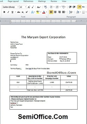 Purchase Order Format In Word Free Download  Format Purchase Order