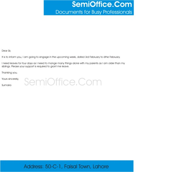 Leave Application For Engagement  SemiOfficeCom