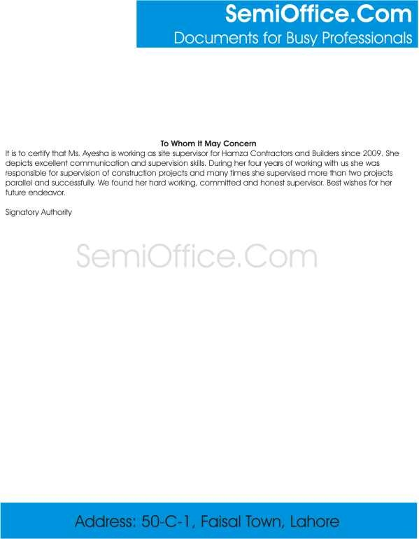 site supervisor experience letter for construction