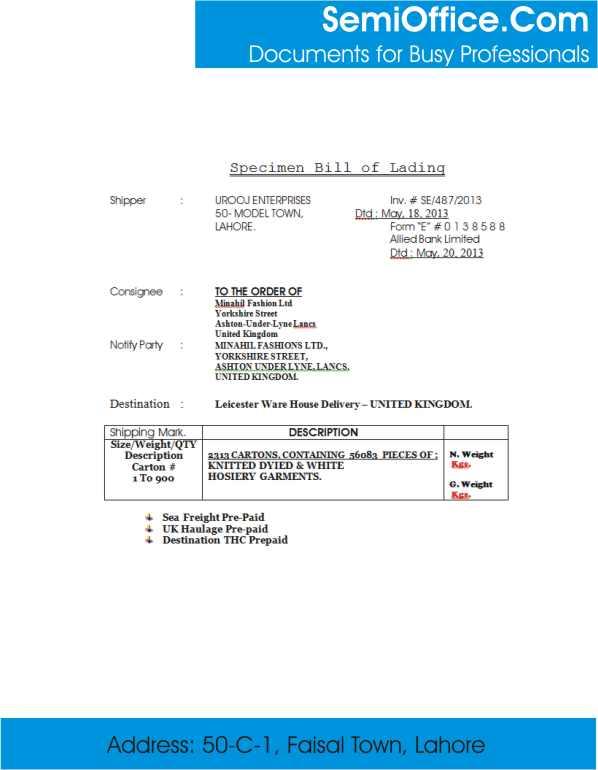 Specimen Bill of Lading Form Sample