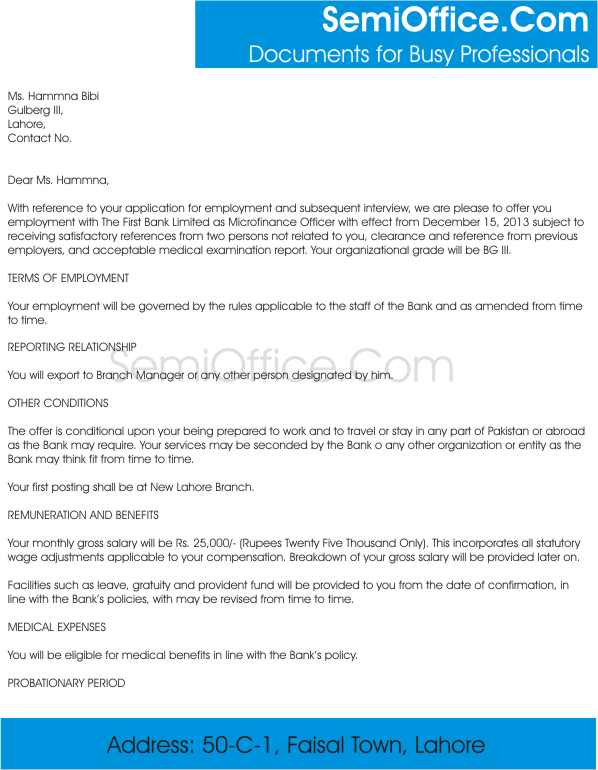 Appointment Letter For Job in Word Free Download