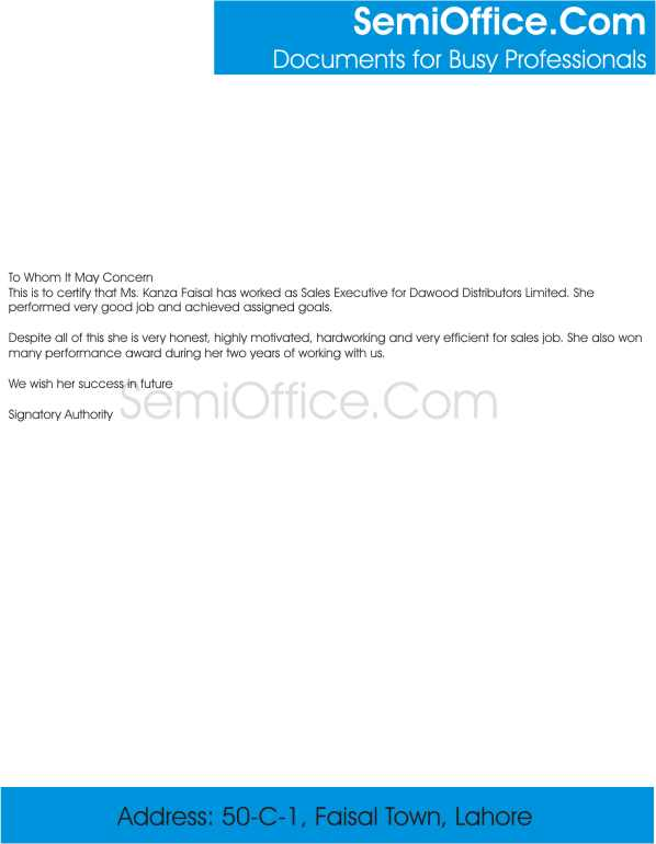 Experience Letter for Sales Executive free Download