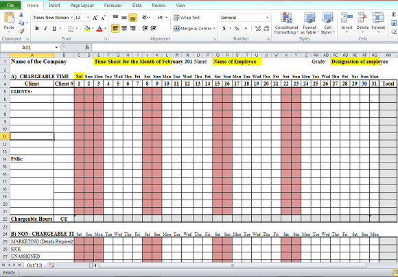 timesheet format in excel free download