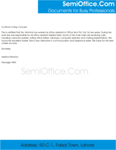 Experience Letter for Office Assistant