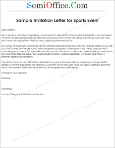 Letter of Invitation to Guest in Sports Day