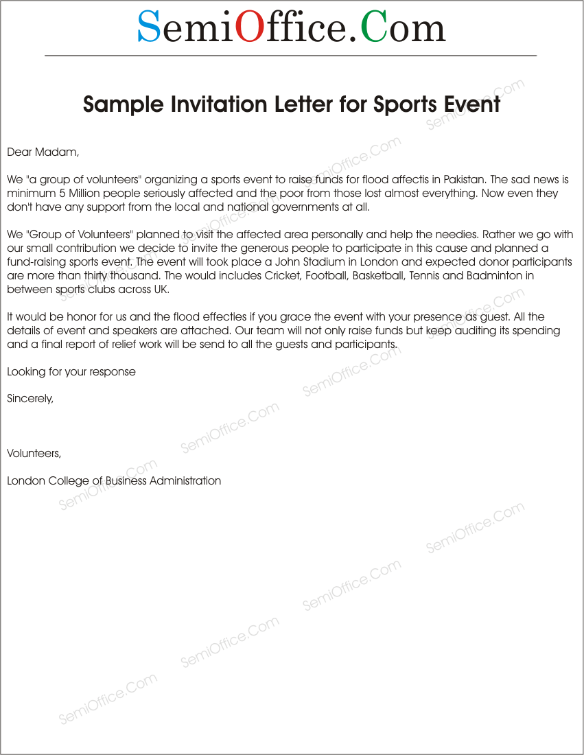 Formal Invitation Letter For Event Letter Of Invitation To Sports Event