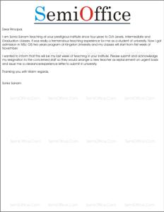 Sample Resignation Letter for Teachers
