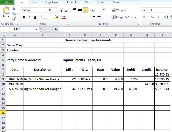 general ledger format in excel free download