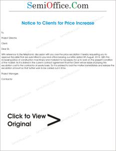 Rates Revision Sample Letter Format