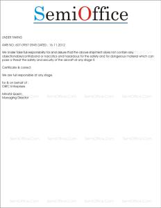 Undertaking Letter for Shipment