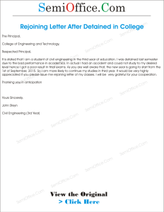 Rejoining Letter After Study Leave