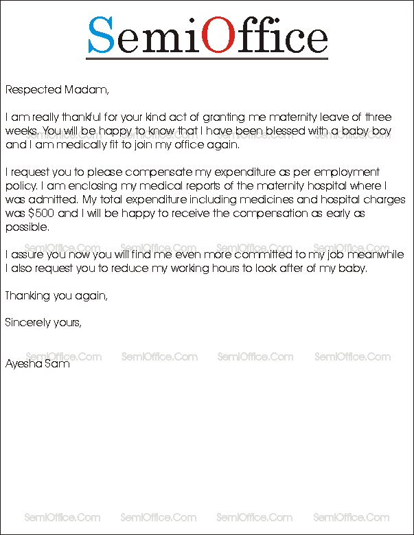 official maternity leave letter