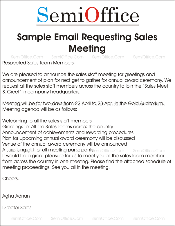 Sample Letter Requesting Sales Meeting and Greetings