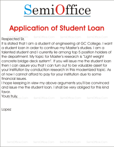 Sample Application of Student Loan