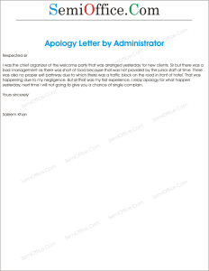 Apology Letter for Poor Administration