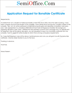 Application for Issue Of Bonafide Certificate