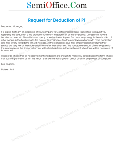 Application for Requesting Deduction of Provident Fund