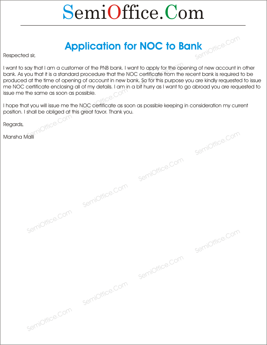 Application Of Noc Certificate In Bank Semioffice Com