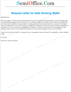 Application to Principal Requesting to Provide Safe Drinking Water
