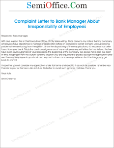 Complaint Letter to Bank Manager