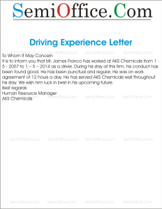 Driving Experience Letter