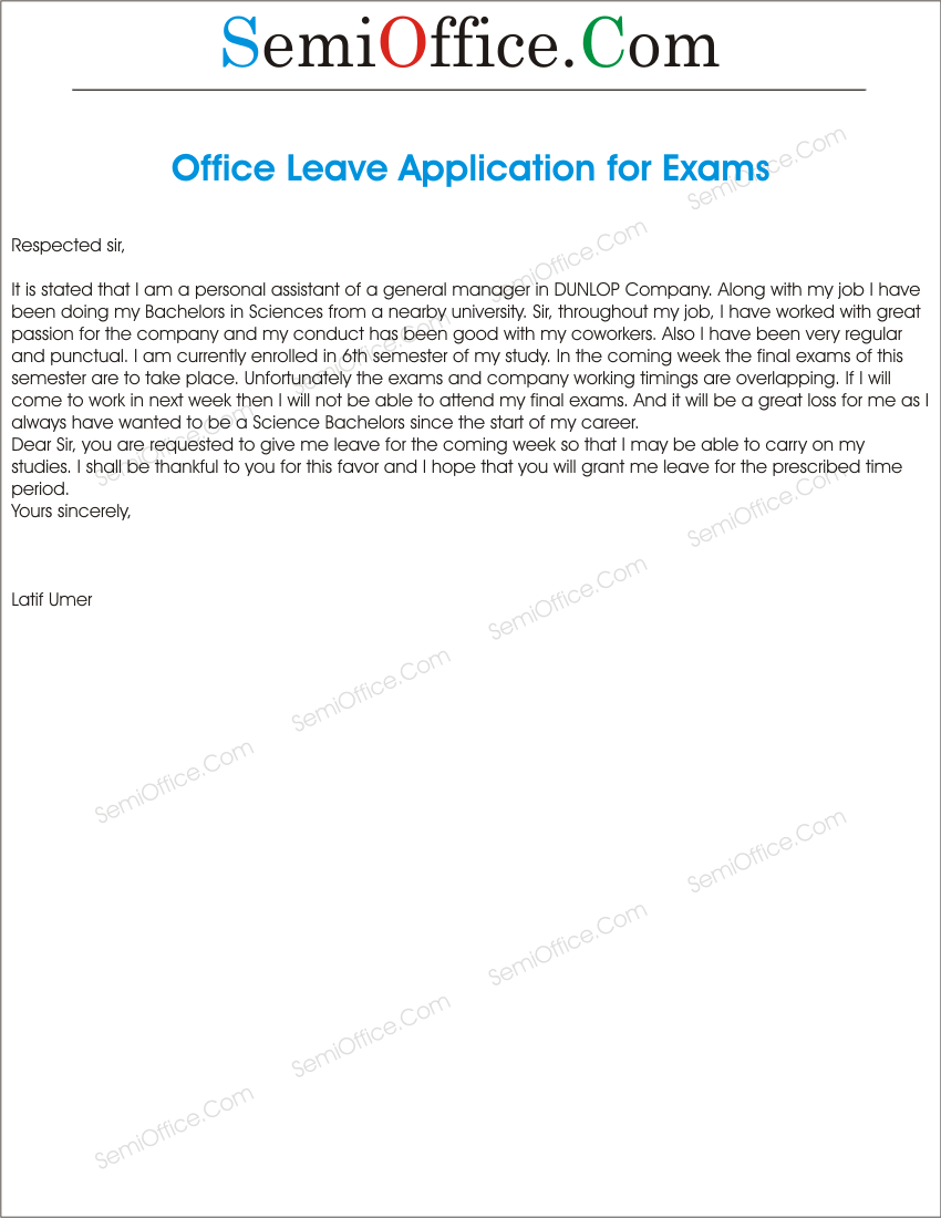 letter for leave application in office for exams