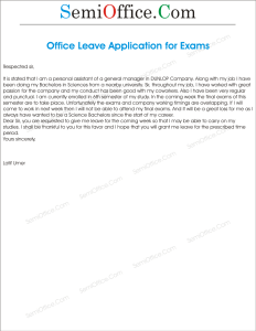 Leave Application For Semester Final Exam