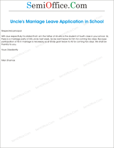 Leave Application for Marriage of Uncle by Student's Parents